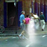 ghost near the house of Voodoo on Bourbon and St, Ann Street, Photo of Ghost sent to us by Wendal K.